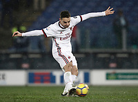 Football Soccer: Tim Cup semi-final second Leg, SS Lazio vs AC Milan, Stadio Olimpico, Rome, Italy, February 28, 2018.<br /> Milan's Giacomo Bonaventura kicks a penalty during the shootout of the Tim Cup semi-final football match between SS Lazio vs AC Milan, at Rome's Olympic stadium, February 28, 2018.<br /> <br /> UPDATE IMAGES PRESS/Isabella Bonotto