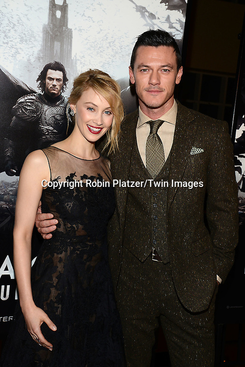 Sarah Gadon and actor Luke Evans, who plays Dracula, attends the Special Screening of &quot;Dracula Untold&quot;  on October 6, 2014 at The ABC Loews 34th Street Imax Theatre In New York City. <br /> <br /> photo by Robin Platzer/Twin Images<br />  <br /> phone number 212-935-0770