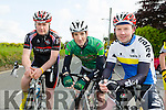 Donnacha Galvin, George Doyle and Mark Ryall at the Currow Cycling Club and Currow Ladies GAA club fund raising cycle starting at the Community Centre on Sunday