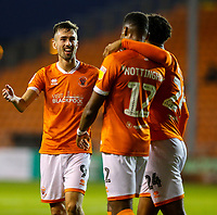Blackpool's Michael Nottingham celebrates scoring his side's second goal <br /> <br /> Photographer Alex Dodd/CameraSport<br /> <br /> EFL Leasing.com Trophy - Northern Section - Group G - Blackpool v Morecambe - Tuesday 3rd September 2019 - Bloomfield Road - Blackpool<br />  <br /> World Copyright © 2018 CameraSport. All rights reserved. 43 Linden Ave. Countesthorpe. Leicester. England. LE8 5PG - Tel: +44 (0) 116 277 4147 - admin@camerasport.com - www.camerasport.com
