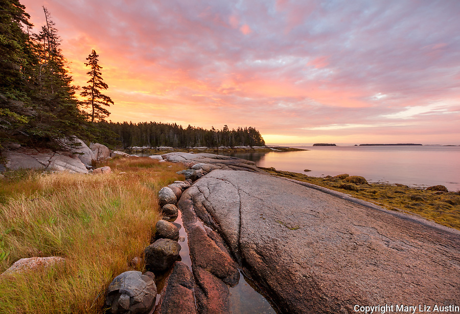 Deer Isle, Maine: Colorful sunrise on the shoreline of Jericho Bay