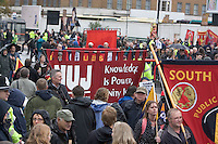National NUJ Banner at Right To Work Demo Birmingham Oct 2010