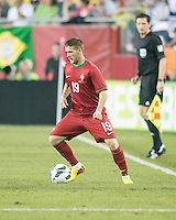 Portugal defender Antunes (19).  In an International friendly match Brazil defeated Portugal, 3-1, at Gillette Stadium on Sep 10, 2013.