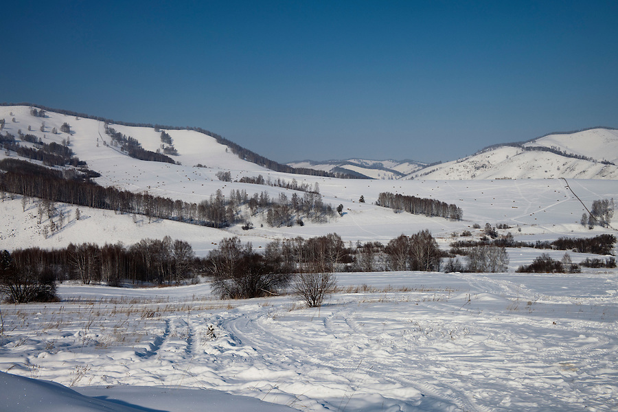 Altai Region, Siberia, Russia, 25/02/2011..View from the site of the first casino at the proposed Siberian Coin casino project in the Altai mountains.