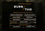 "Theatre Marquee cast board: David Furr, Brandon Uranowitz, Keri Russell, Adam Driver starring in Landford Wilson's ""Burn This""  at Hudson Theatre on April 15, 2019 in New York City."