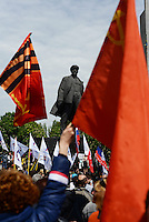 A multitude of Pro- Russian Flags are waived in front of Lenin statue to  celebrate the Victory Day, the Soviet holiday commemorating the defeat of the Nazis.  Sunday is May 11, the proposed date for the separatists' referendum on greater autonomy for eastern Ukraine. Donetsk, Ukraine
