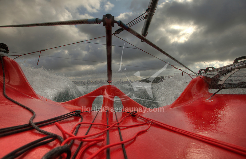 Onboard with  the 18 feet skiff  Australian Champion 2010 Gotta Love It 7 sailed by Seve Javin, Sam Newton and Tom Clout and trained by Andrew Palfrey..The 18ft Skiff is considered the fastest class of sailing skiffs. The class has a long history beginning with races on Sydney Harbour, Australia in 1892. It is the fastest conventional non-foiling monohull on the yardstick rating.