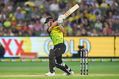 10th February 2018, Melbourne Cricket Ground, Melbourne, Australia; International Twenty20 Cricket, Australia versus England; Chris Lynn of Australia hits a boundary