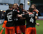 Leon Clarke of Sheffield Utd celebrates his goal during the English League One match at the Proact Stadium, Chesterfield. Picture date: November 13th, 2016. Pic Simon Bellis/Sportimage