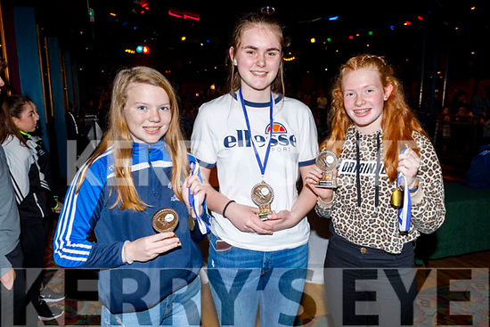 U14 Castleisland Desmond Ladies Amy McCarthy, Ciara Cronin and Hannah Hurlihy at the Castleisland Desmonds LGFA/GAA Awards Night in the River Island Hotel on Sunday