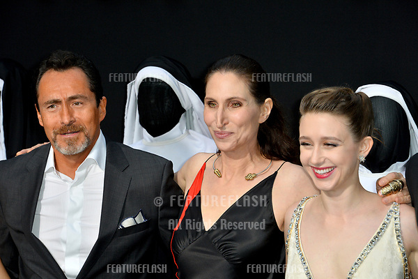 """LOS ANGELES, CA. September 04, 2018: Demian Bichir, Bonnie Aarons & Taissa Farmiga at the world premiere of """"The Nun"""" at the TCL Chinese Theatre, Hollywood."""