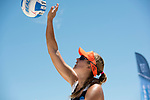 GULF SHORES, AL - MAY 07: Brittany Howard (15) of Pepperdine University serves the ball against the University of Southern California during the Division I Women's Beach Volleyball Championship held at Gulf Place on May 7, 2017 in Gulf Shores, Alabama. The University of Southern California defeated Pepperdine 3-2 to claim the national championship. (Photo by Stephen Nowland/NCAA Photos via Getty Images)