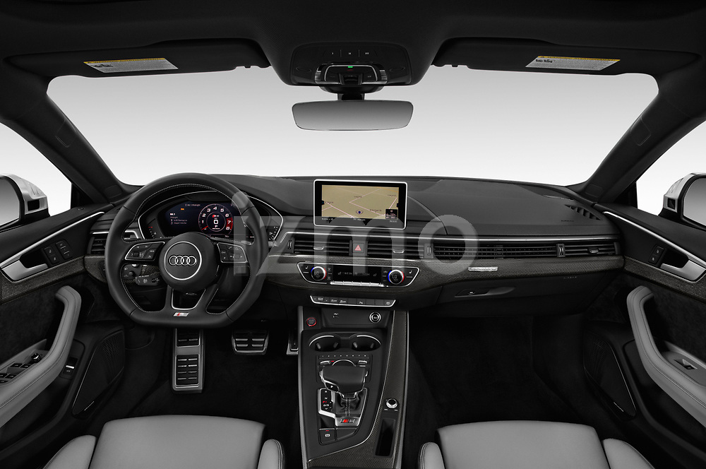 Stock photo of straight dashboard view of a 2018 Audi S5 Sportback 3.0T Premium Plus quattro Tiptronic 5 Door Hatchback