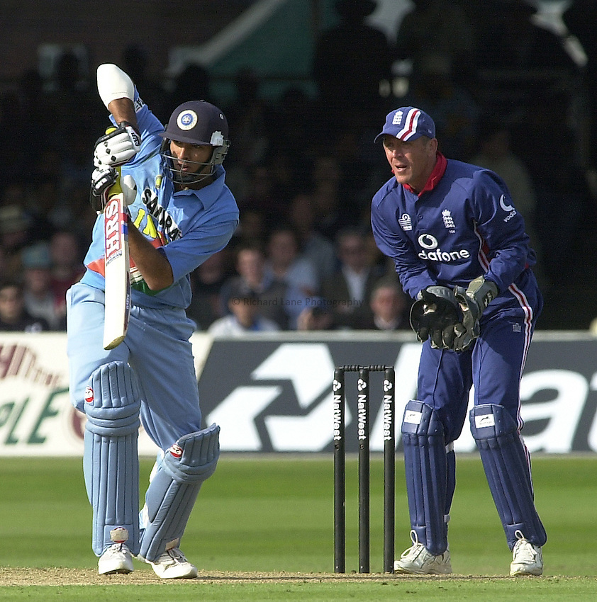 Photo Peter Spurrier.29/06/2002 .NatWest triangler Series England v India.Lord's .Yuvraj Singh and Alex Stewart