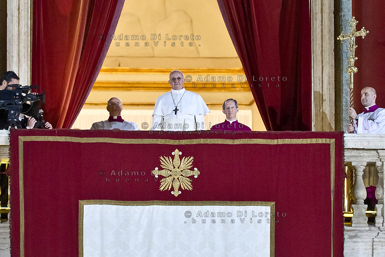 The new pope, Argentinian cardinal Jorge Mario Bergoglio, from now on known as Francis I., appears on the balcony of St. Peter's Basilica at the Vatican after his election, on March 13, 2013. (Photo by Adamo Di Loreto/BuenaVista*photo)