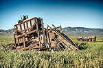 Early 20th century wooden Harris grain combines, abandoned farm, Van Matre Ranch, Carrizo Plain, San Luis Obispo County, Calif.