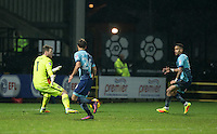 Paris Cowan-Hall of Wycombe Wanderers passes to Scott Kashket of Wycombe Wanderers who scores his 10th goal in 11 games for the club during the Sky Bet League 2 match between Notts County and Wycombe Wanderers at Meadow Lane, Nottingham, England on 10 December 2016. Photo by Andy Rowland.