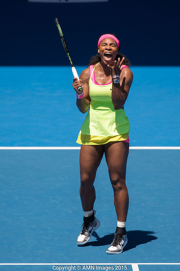 Serena Williams (USA)<br /> <br /> Tennis - Australian Open 2015 - Grand Slam -  Melbourne Park - Melbourne - Victoria - Australia  - 22 January 2015. <br /> &copy; AMN IMAGES