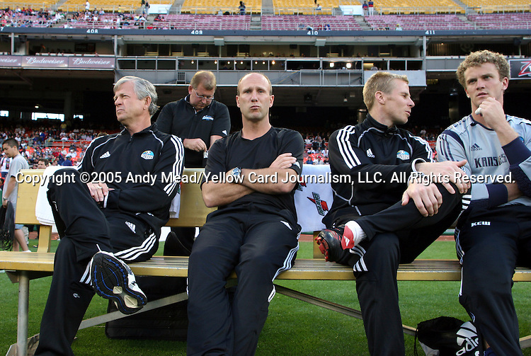 21 May 2005: Wizards staff. From left: Head coach Bob Gansler, assistant coach Brian Bliss, goalkeeping coach John Cone, backup goalkeeper Will Hesmer. Team athletic trainer Chet North is behind the bench. DC United defeated the Kansas City Wizards 3-2 at RFK Stadium in Washington, DC in a regular season Major League Soccer game. . .