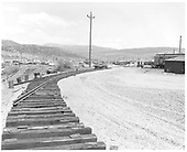 Construction of new loop in Durango yard with ties down.<br /> D&amp;RGW  Durango, CO  Taken by Payne, Andy M. - 4/30/1968