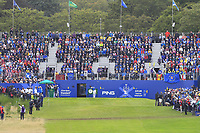 Georgia Hall (EUR) on the 1st tee during Day 3 Singles at the Solheim Cup 2019, Gleneagles Golf CLub, Auchterarder, Perthshire, Scotland. 15/09/2019.<br /> Picture Thos Caffrey / Golffile.ie<br /> <br /> All photo usage must carry mandatory copyright credit (© Golffile | Thos Caffrey)