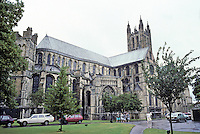 Canterbury: Canterbury Cathedral--3/4 elevation, South Transept. Almost 30 ft. longer than Notre Dame, Paris.
