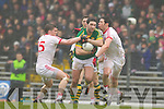 Bryan Sheehan, Kerry in action against Duibhir Marshall and Mark Winters Tyrone in the fourth round of the National Football league at Fitzgerald Stadium, Killarney on Sunday.