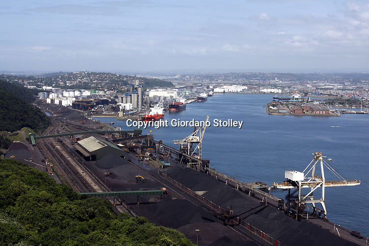 DURBAN - 9 February 2014 - The view of Durban harbour looking from the Millennium Tower. In the foreground are the coal loading berths and off to the left the and centre the Island View chemicals and oils facility can be seen. Picture: Allied Picture Press/APP