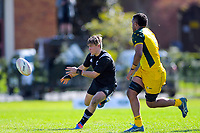 Aidan Morgan passes duringthe rugby union match between New Zealand Schools and Australia Under-18s at St Paul's Collegiate in Hamilton, New Zealand on Friday, 4 October 2019. Photo: Dave Lintott / lintottphoto.co.nz