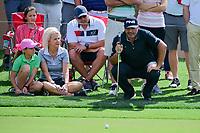 &Aacute;ngel Cabrera (ARG) lines up his putt on 16 with the help of some fans during round 2 of the Valero Texas Open, AT&amp;T Oaks Course, TPC San Antonio, San Antonio, Texas, USA. 4/21/2017.<br /> Picture: Golffile | Ken Murray<br /> <br /> <br /> All photo usage must carry mandatory copyright credit (&copy; Golffile | Ken Murray)