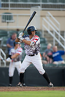 J.J. Franco (1) of the Kannapolis Intimidators at bat against the Delmarva Shorebirds at Kannapolis Intimidators Stadium on June 30, 2017 in Kannapolis, North Carolina.  The Shorebirds defeated the Intimidators 6-4.  (Brian Westerholt/Four Seam Images)