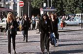 Bucharest, Romania. Street scene; people on a busy city street; pedestrians.