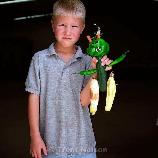 Mason Hopkins, martian, best alien award. Vegetable Carving Contest. Beaver County Fair.<br />