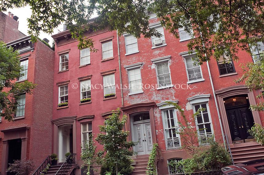 New York, NY -  31 July 2012 West Village row houses.
