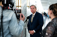 United States Senator Lindsey Graham (Republican of South  Carolina), Chairman, US Senate Judiciary Committee talks to reporters about his belief in the need for police reform on Capitol Hill in Washington, DC on June 9, 2020. <br /> Credit: Erin Schaff / Pool via CNP/AdMedia