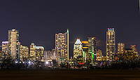 Austin Skyline at night with the frost and austonian and the 360 high-rise in view.