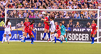PHILADELPHIA, PA - AUGUST 29: Sam Mewis #3 of the United States heads the ball during a game between Portugal and the USWNT at Lincoln Financial Field on August 29, 2019 in Philadelphia, PA.