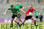 Bernard Murphy Glenbeigh Glencar in action against Cathal McWilliams Rock Saint Patricks in the Junior Football All Ireland Final in Croke Park on Sunday.