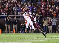 Blacksburg, VA - September 30, 2017: Clemson Tigers wide receiver Ray-Ray McCloud (34) makes a catch during the game between Clemson and VA Tech at  Lane Stadium in Blacksburg, VA.   (Photo by Elliott Brown/Media Images International)