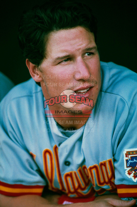 Adam Riggs of the Albuquerque Dukes during a game at Cashman Field in Las Vegas, Nevada during the 1997 season.(Larry Goren/Four Seam Images)