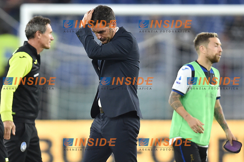 Paulo Fonseca coach of AS Roma looks dejected at the end of the match <br /> Roma 25-9-2019 Stadio Olimpico <br /> Football Serie A 2019/2020 <br /> AS Roma - Atalanta Bergamasca Calcio <br /> Foto Andrea Staccioli / Insidefoto