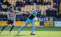 Stephen McGinn of Wycombe Wanderers & Liam Noble of Notts County in action during the Sky Bet League 2 match between Notts County and Wycombe Wanderers at Meadow Lane, Nottingham, England on 28 March 2016. Photo by Andy Rowland.