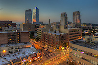 A twilight view of the skyline with modern residential towers in White Plains, New York.