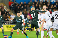 David Silva of Manchester City scores his side's first goa during the EPL - Premier League match between Swansea City and Manchester City at the Liberty Stadium, Swansea, Wales on 13 December 2017. Photo by Mark  Hawkins / PRiME Media Images.