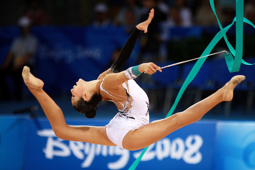 August 22, 2008; Beijing, China; Rhythmic gymnast Sooji Shin of South Korea performs ribbon routine during qualifying round to finish in 12th place at 2008 Beijing Olympics. Copyright 2008 Tom Theobald