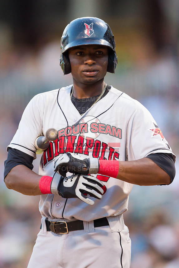 Gregory Polanco (25) of the Indianapolis Indians steps up to the plate during the game against the Charlotte Knights at BB&T Ballpark on May 23, 2014 in Charlotte, North Carolina.  The Indians defeated the Knights 15-6.  (Brian Westerholt/Four Seam Images)