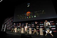 Aaron Sagers, Steven S. DeKnight, Burn Gorman, Cailee Spaeny, Scott Eastwood und John Boyega beim Panel zu 'Pacific Rim: Uprising / Pacific Rim 2' auf der New York Comic Con 2017 im Javits Center. New York, 06.10.2017