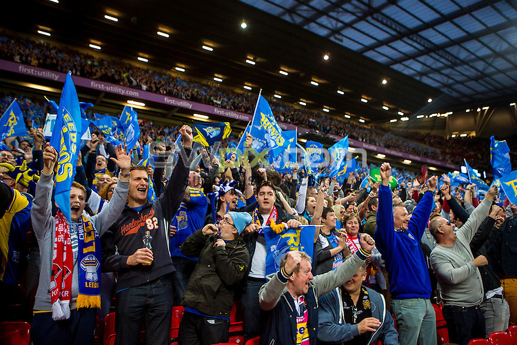 Picture by Alex Whitehead/SWpix.com - 10/10/2015 - Rugby League - First Utility Super League Grand Final - Leeds Rhinos v Wigan Warriors - Old Trafford, Manchester, England - Leeds fans, supporters.