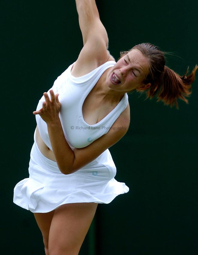 Photo: Richard Lane..Wimbledon Championships. 27/06/2006..Great Britain's Katie O'Brien serves.