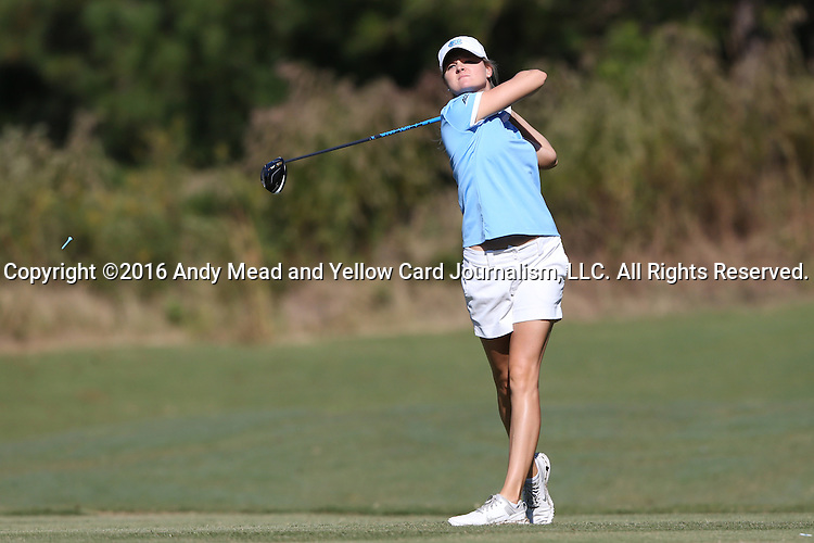 16 October 2016: UNC's Rachel Jones. The Final Round of the 2016 Ruth's Chris Tar Heel Invitational NCAA Women's Golf Tournament hosted by the University of North Carolina Tar Heels was held at the UNC Finley Golf Club in Chapel Hill, North Carolina.